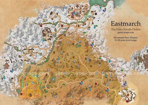 Eastmarch zone map. Windhelm, Fort Amol. Region in northern part of ...
