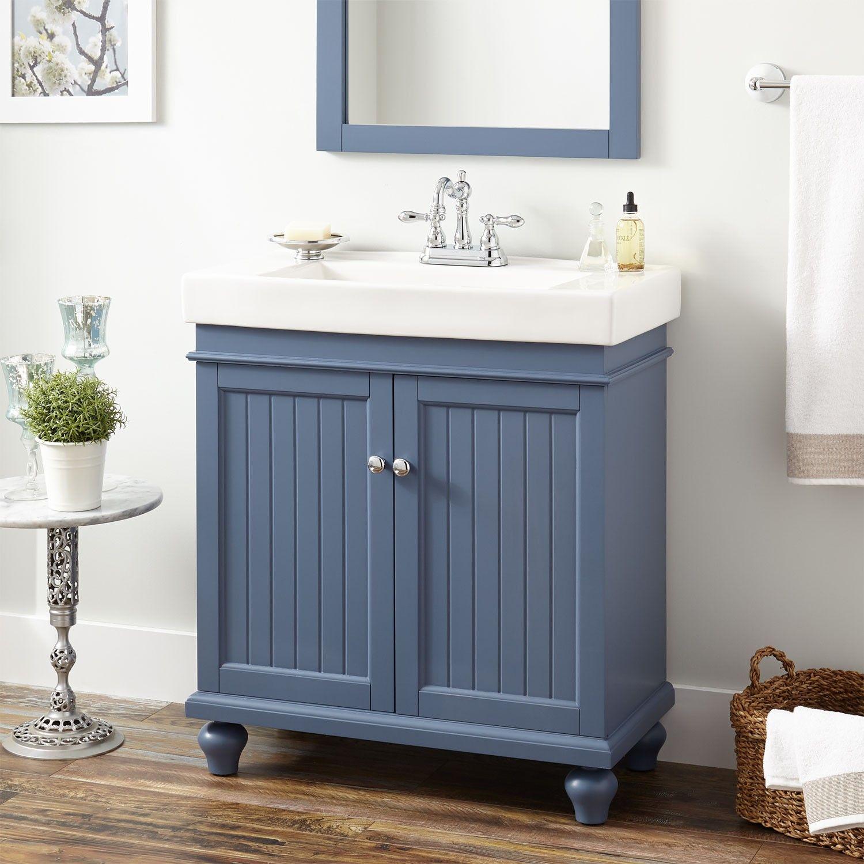 689 Mirrir And Sink Included 30 Lander Vanity Cabinet Blue Diy Bathroom Vanity Makeover Bathroom Vanity Makeover Luxury Bathroom Vanity