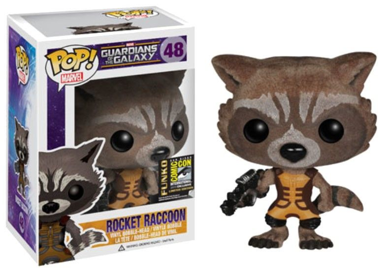 Guardians Of The Galaxy Pop Vinyl Figure Rocket Raccoon Flocked Sdcc Exclusive 10 Cm With Images Pop Vinyl Figures Pop Figurine Pop Toys