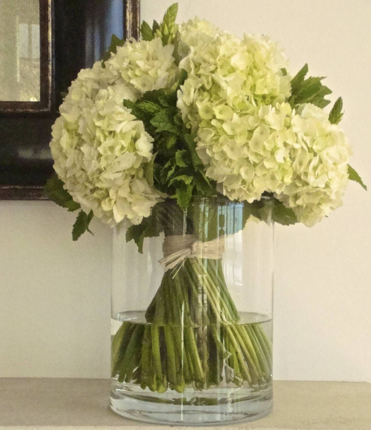 Hand Tied Bouquet Of Hydrangeas Star Of Bethlehem And Mint