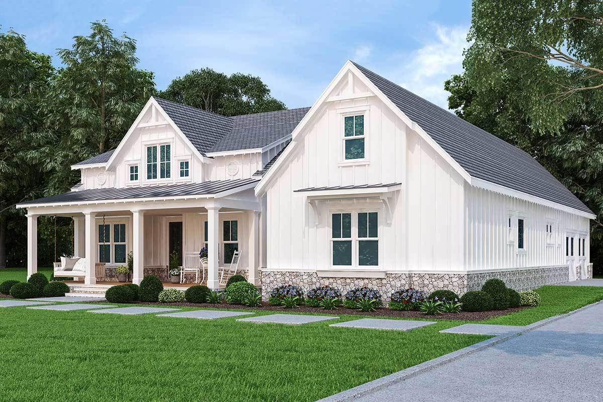 Plan 12317jl One Level Modern Farmhouse With Bonus Over Garage And Lower Level Expansion In 2021 Modern Farmhouse Plans Farmhouse Plans House Plans