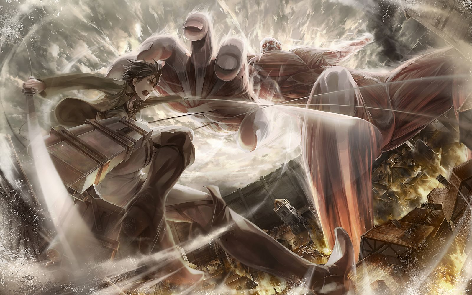 Eren Vs Titan Colosal Computer Wallpapers Desktop Backgrounds 1600x1000 Id 632840 Attack On Titan Anime Titans