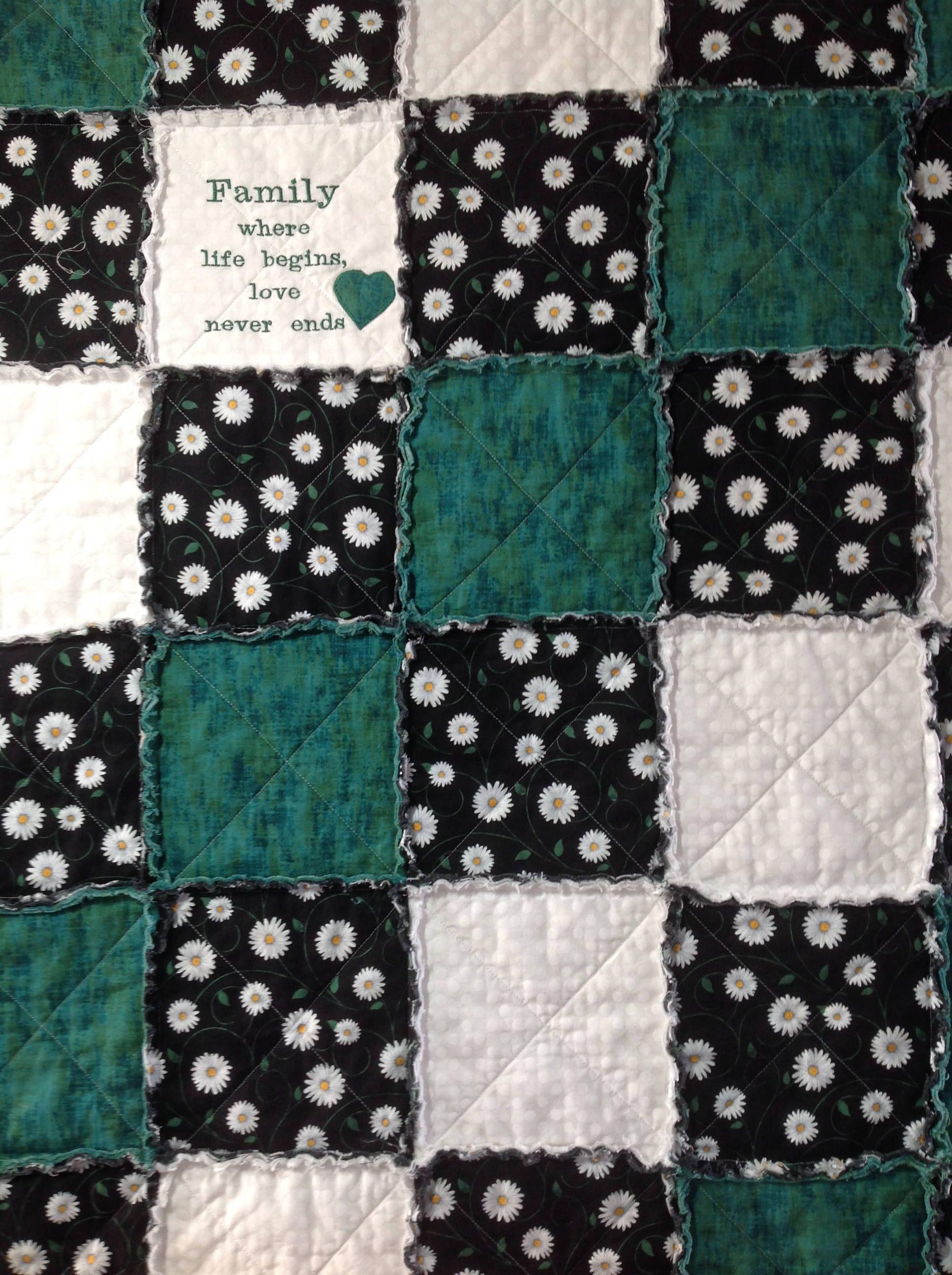 Handmade Quilt, Rag Quilt, Throw, Floral Quilt, Green Quilt ... : floral quilts for sale - Adamdwight.com