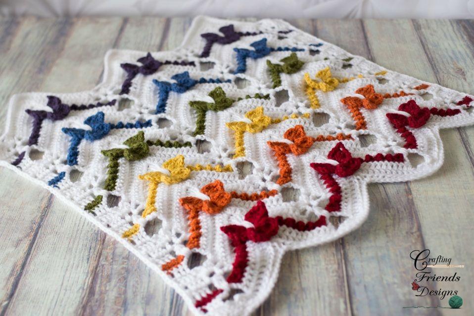 Rainbow Butterfly Chevron Afghan Crochet Pattern - Crafting Friends ...