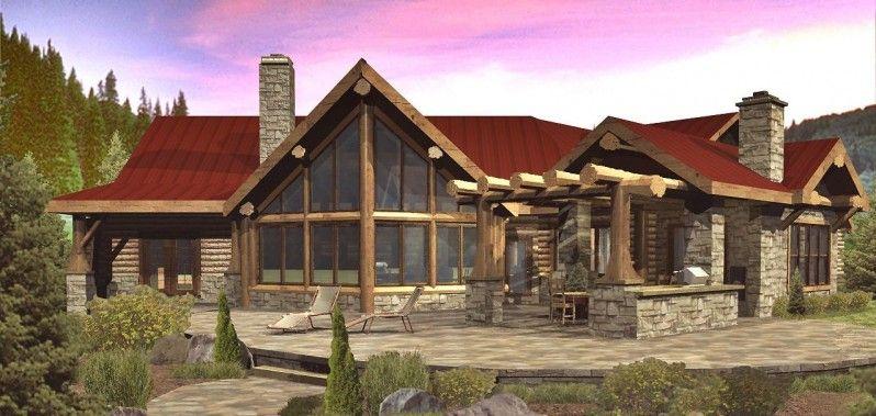 Modelo de casa r stica y elegante de madera y piedras de - Casa rural de madera ...