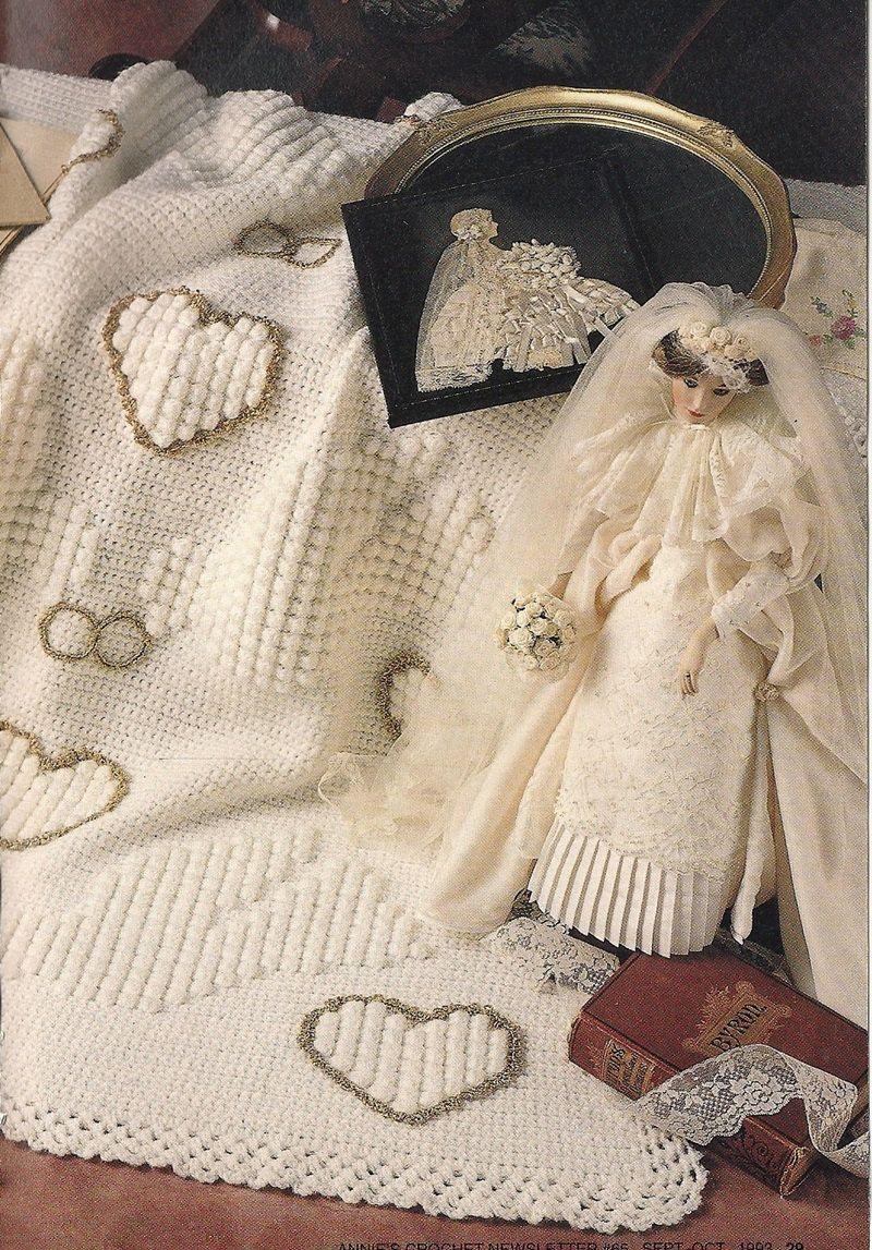 wedding afghan vintage crochet pattern hearts doves rings blanket throw home decor p 061. Black Bedroom Furniture Sets. Home Design Ideas