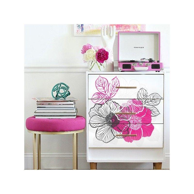 Vinilo decorativo flores 21 adhesivos para muebles - Papel decorativo para muebles ...