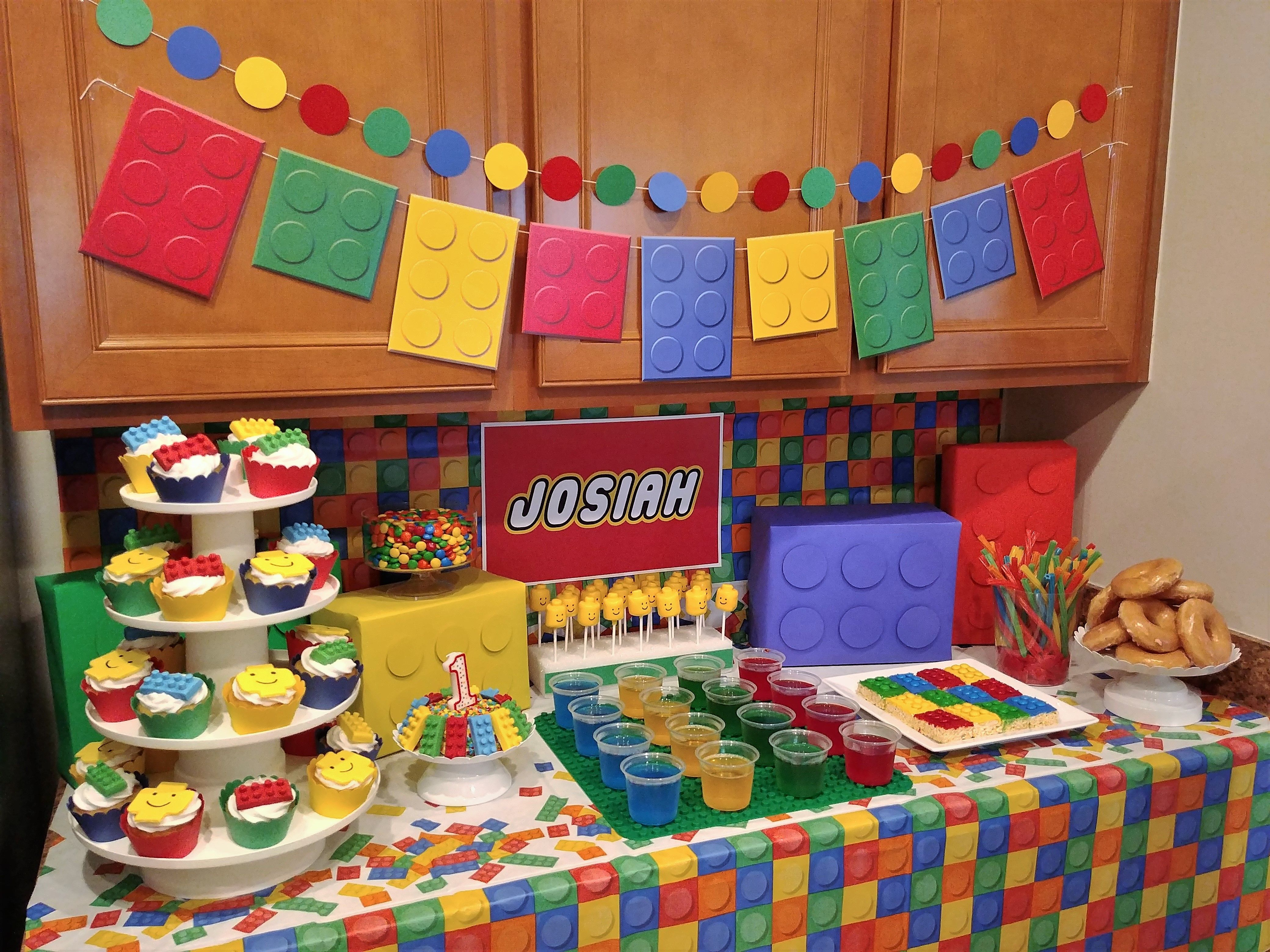 Lego First Birthday Party Lego Bricks Party Lego Birthday Party