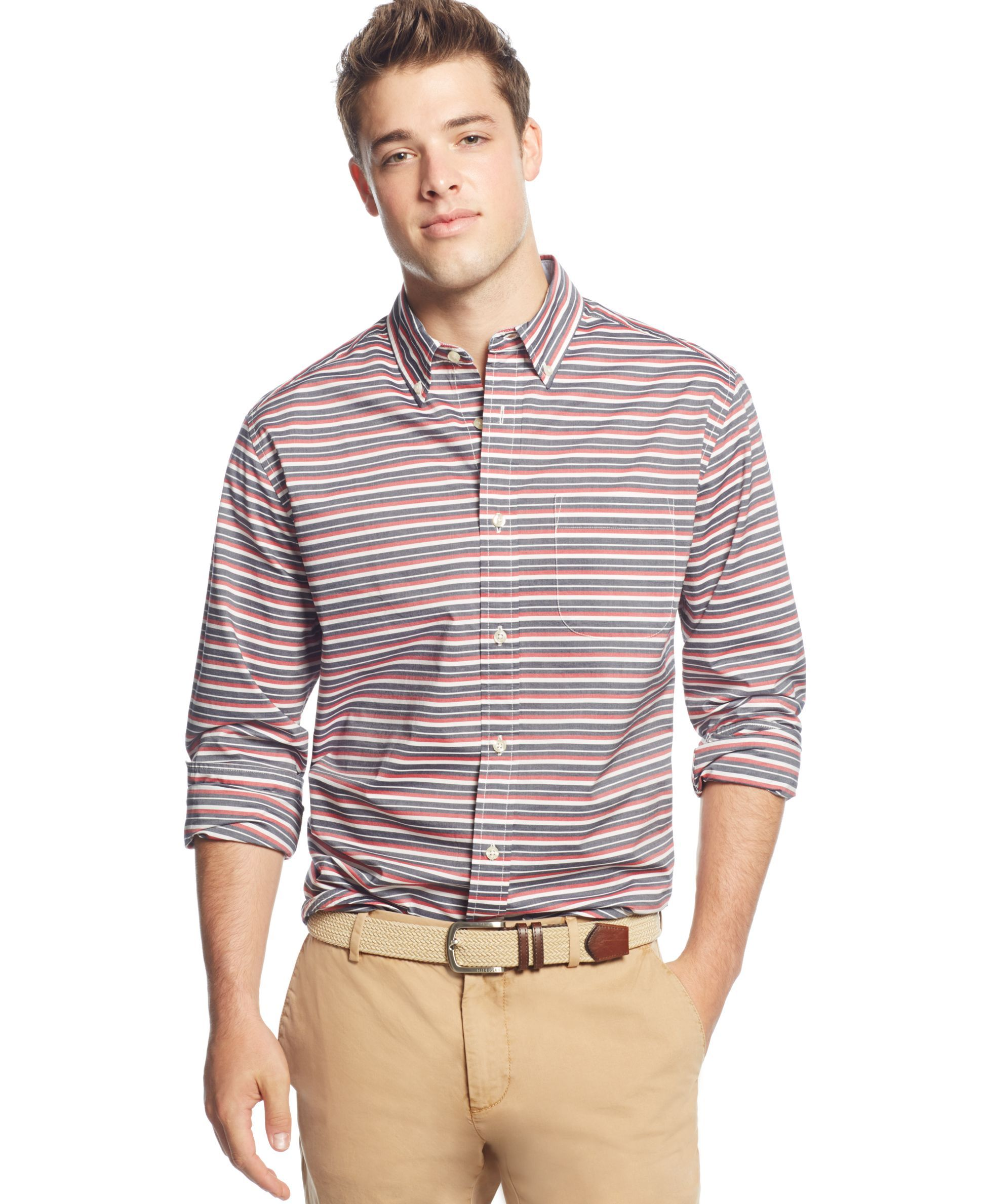 c3fea8c8 Tommy Hilfiger Active Horizontal Stripe Long-Sleeve Button-Down Shirt
