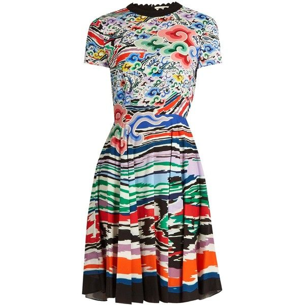 25fdc2d53c Mary Katrantzou Bixbite rainbow cloud-print dress ($658) ❤ liked on  Polyvore featuring dresses, multi, colorful dresses, multi color dress, a  line dress, ...