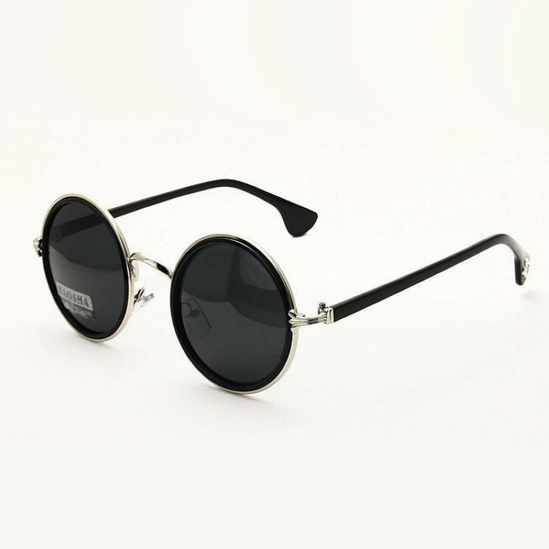 Mens Classic Hippie Round Circle Lens Hipster Metal Rim Sunglasses