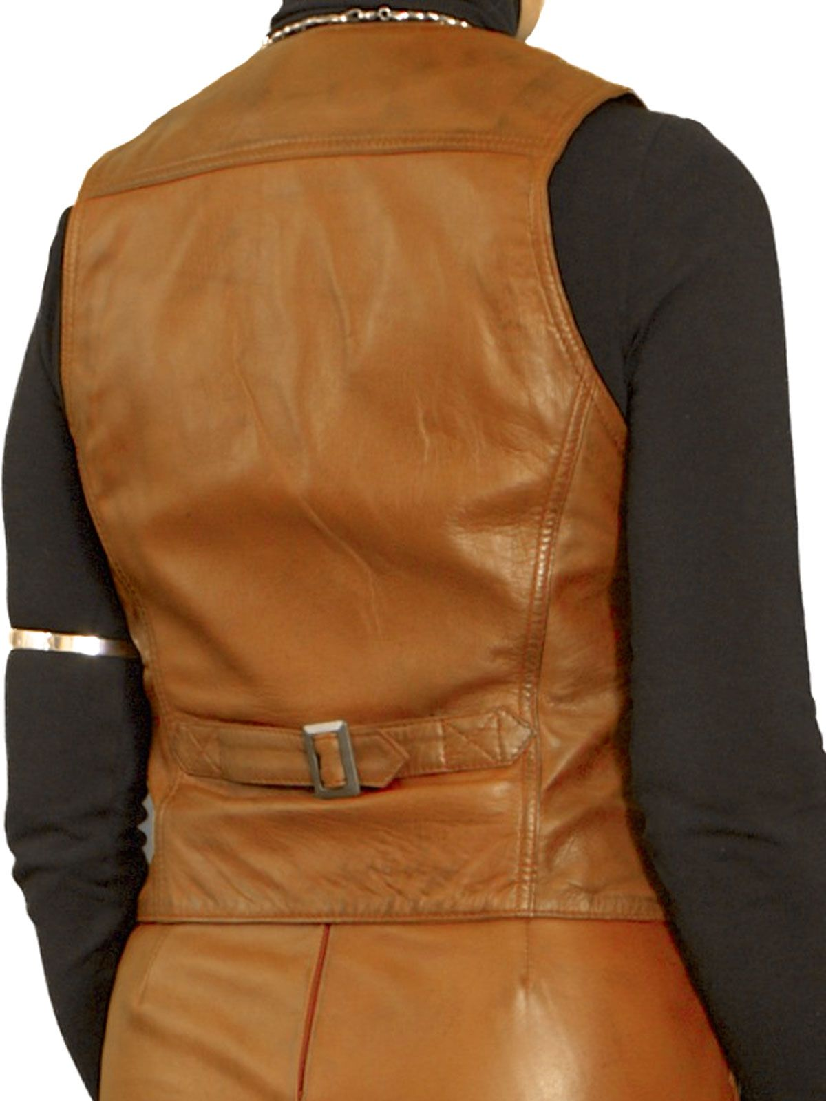6e5a1b2c60a6c Womens Tan Luxury Leather Waistcoat with back buckle belt. Made in finest  soft semi-aniline lambskin nappa leather. Also in black and cherry red
