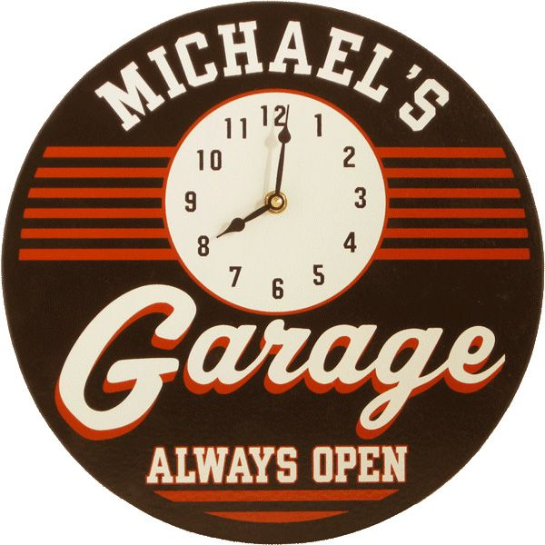 Personalized Garage Clock Sign Garage Clock Man Cave Gifts Personalized Clocks