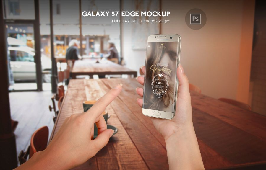 Samsung Galaxy S7 Edge Mockup Photoshop PSD file help you to make better promotion of your app or web design, make hero header images...