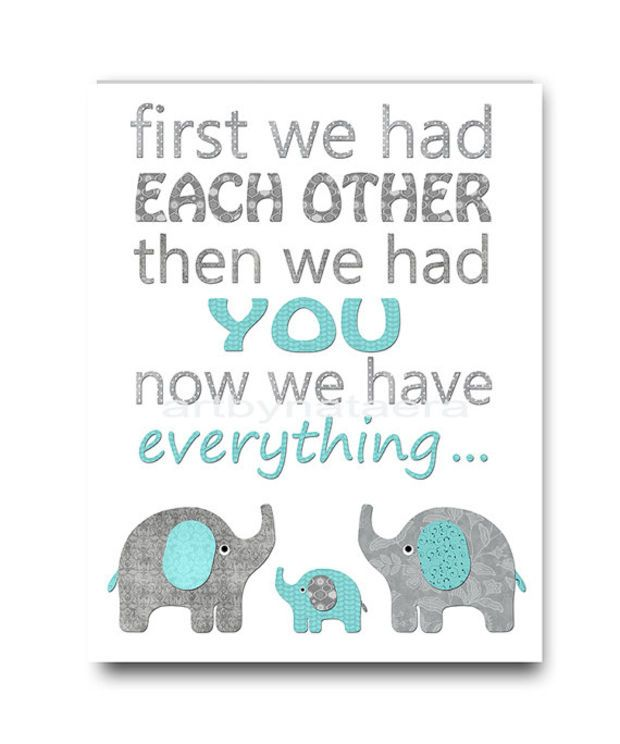 Blue And Gray Kids Room Decor Elephant Nursery Art Baby Boy Wall 8x10