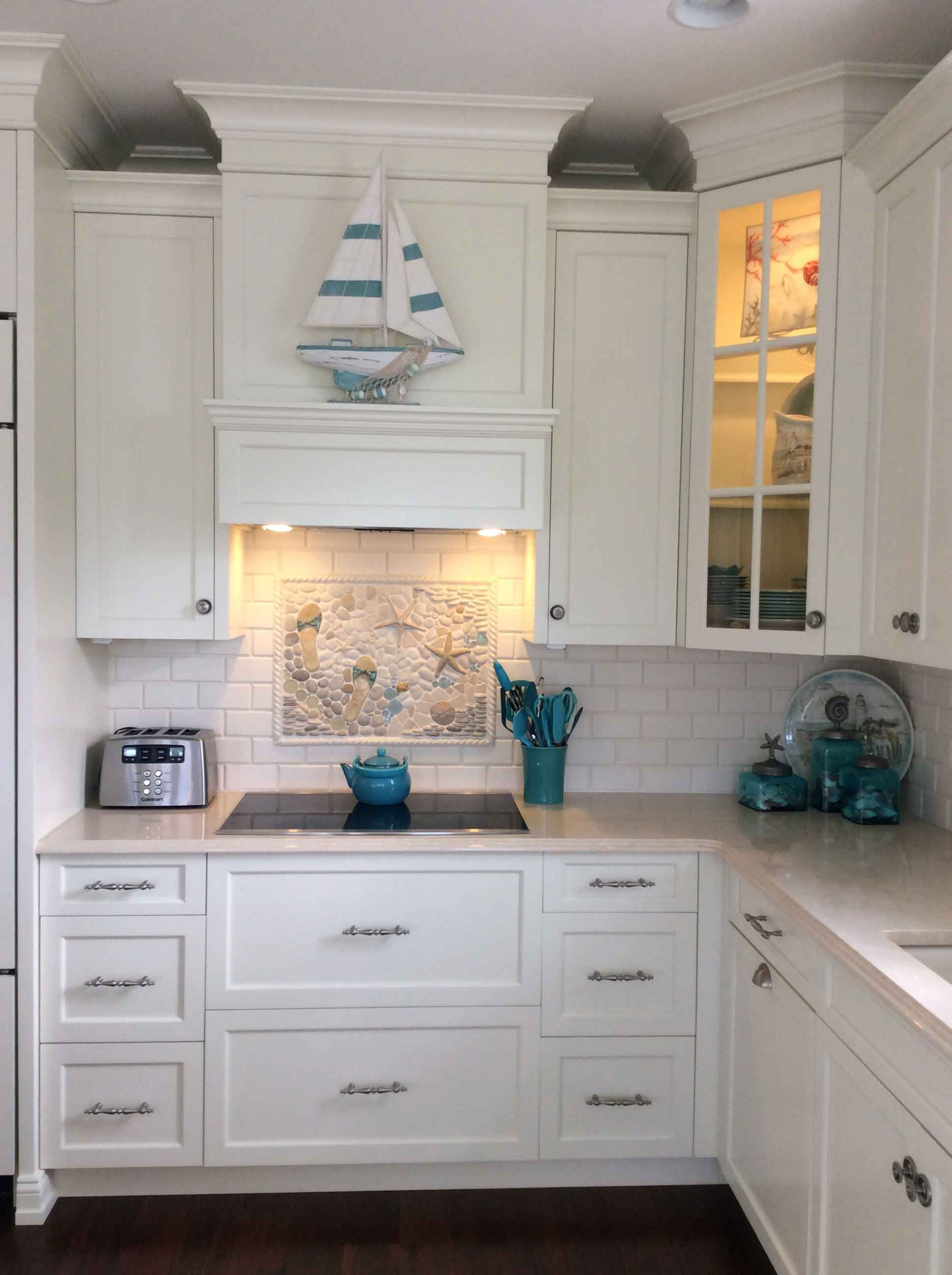 - Ocean-style Kitchen Backsplash With Starfish, Flip Flops And More