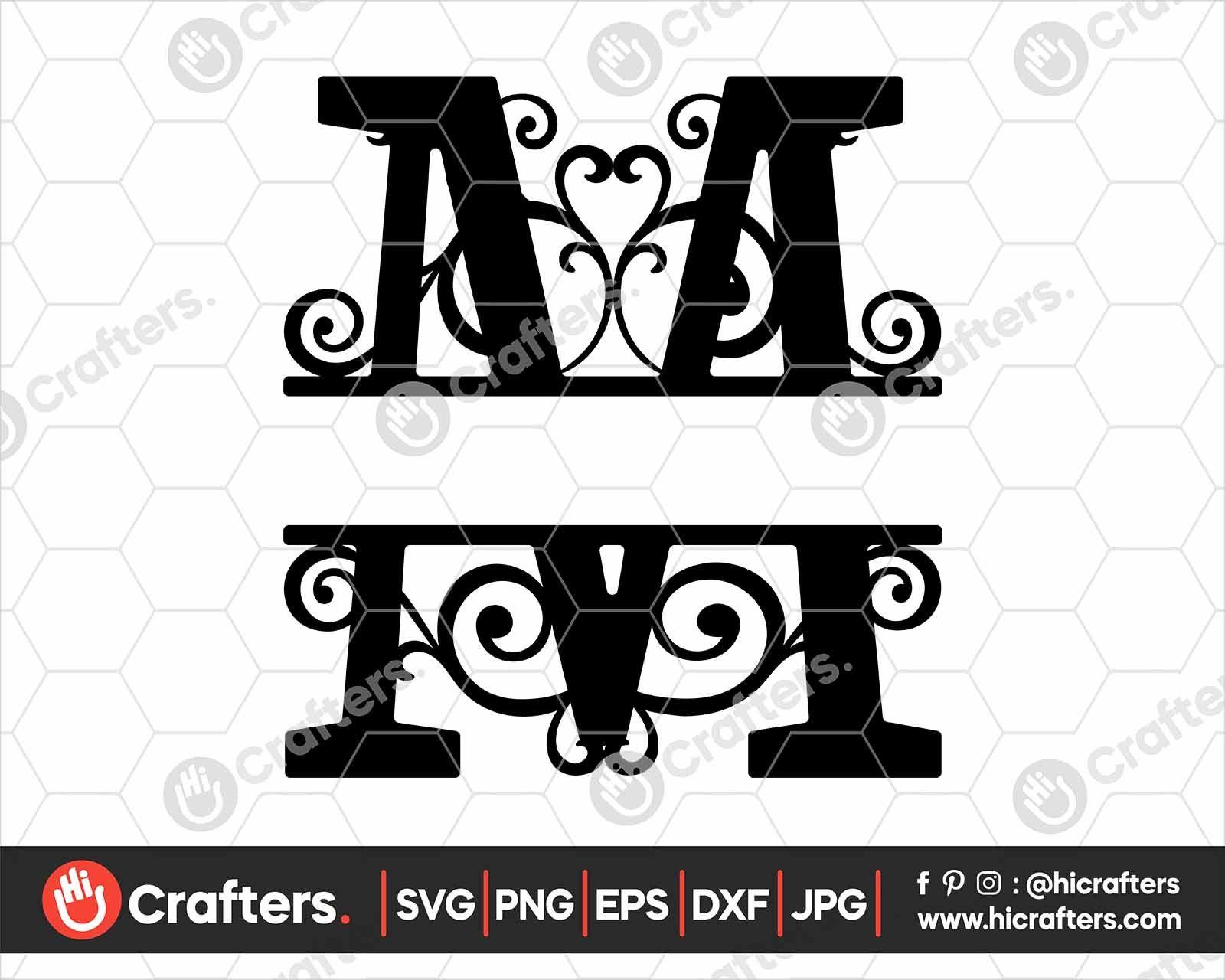 FREE Split Monogram M SVG, Split Letter M SVG in 2020