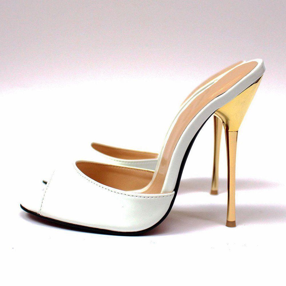 Stilettos High Heels Shoes Sandals Bridal Matel Mules Gold Silver lJcFK1