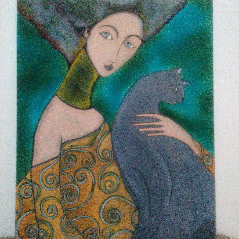 """Купить Картина """"Дама с кошкой"""" - картина для интерьера, картина в подарок, картина, Дама с кошкой, холст"""