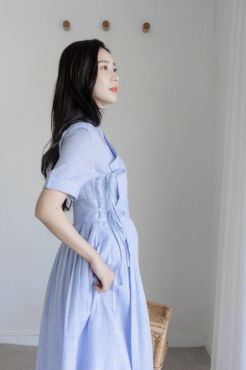 Handmade Modern Hanbok Midi Dress For Women | Korean Style Sleeveless Skirt (DR00035)