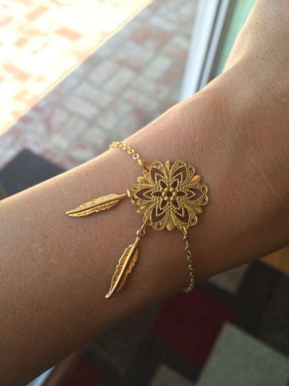 Dreamcatcher Bracelet Feather Bracelet Filigree Gold Bracelet Delectable Dream Catcher Gold Bracelet