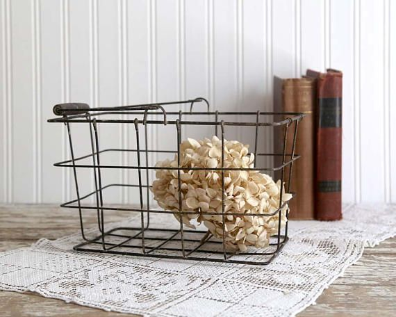 This Vintage Wire Basket Is Just Full Of Simple Old Time Charm And  Usefulness.