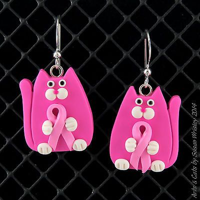 CHARTIY - Pink Ribbon Breast Cancer Awareness Pink Kitty Cat Earrings - SWris