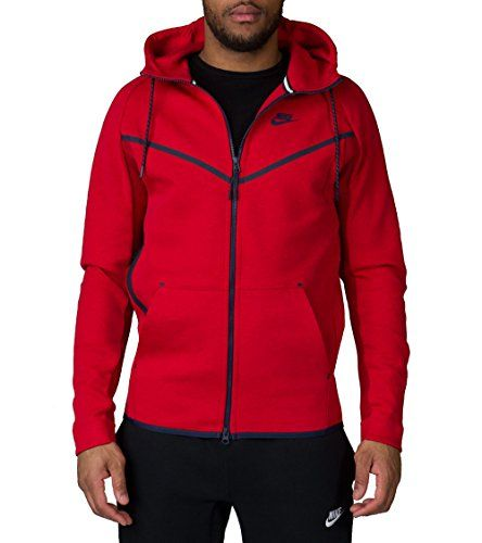 NIKE Nike Men'S Tech Fleece Windrunner Hero Hypermesh Hoodie Jacket - Black/Red. #nike #cloth #