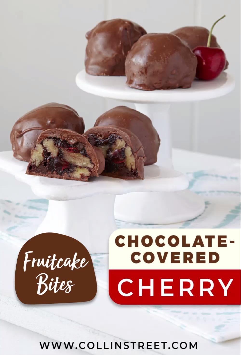Chocolate Covered Cherry Fruitcake Bites