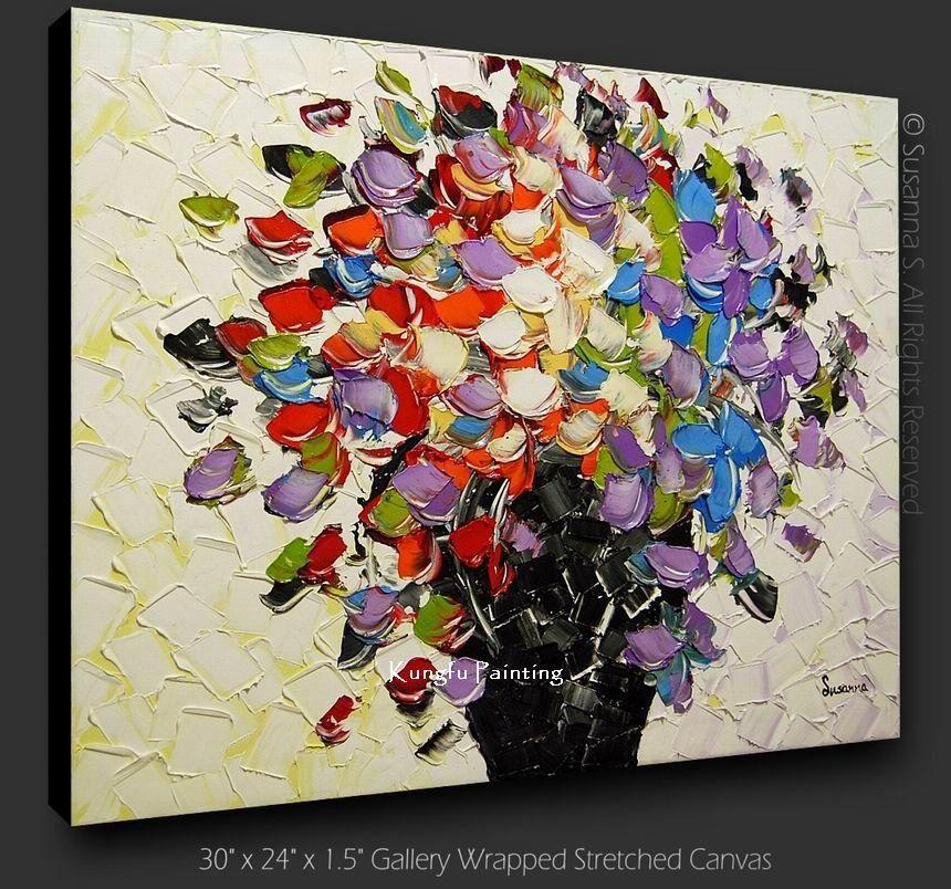 5e9fa77d61 100% el boya modern tuval sanat palet bıçak dokulu yağlıboya tuval ...
