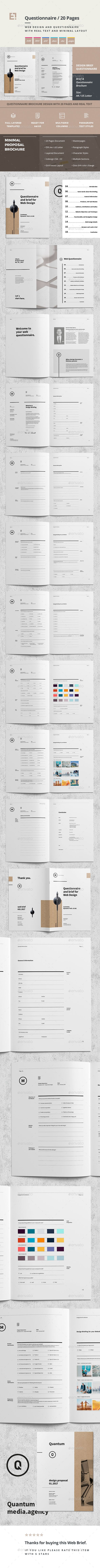 Questionnaire Web Design | Brochure template, Brochures and Template