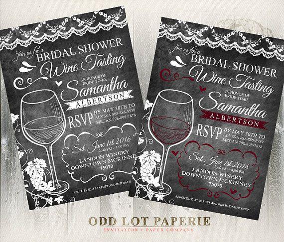 wine tasting bridal shower invite chalkboard by oddlotpaperie