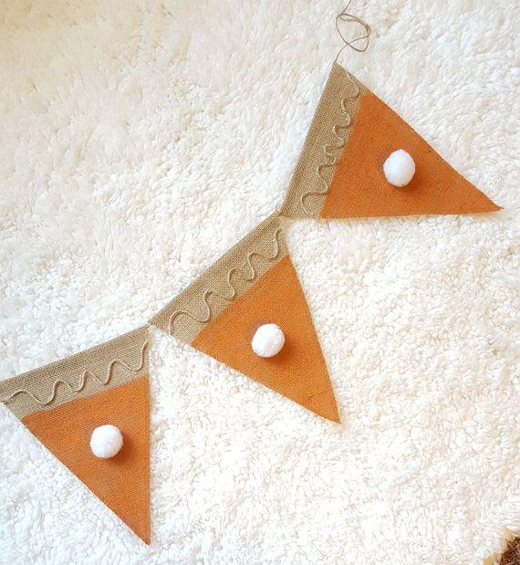Pumpkin Pie Burlap Pennant Banner Triangles 8 X 10 5 Burlap