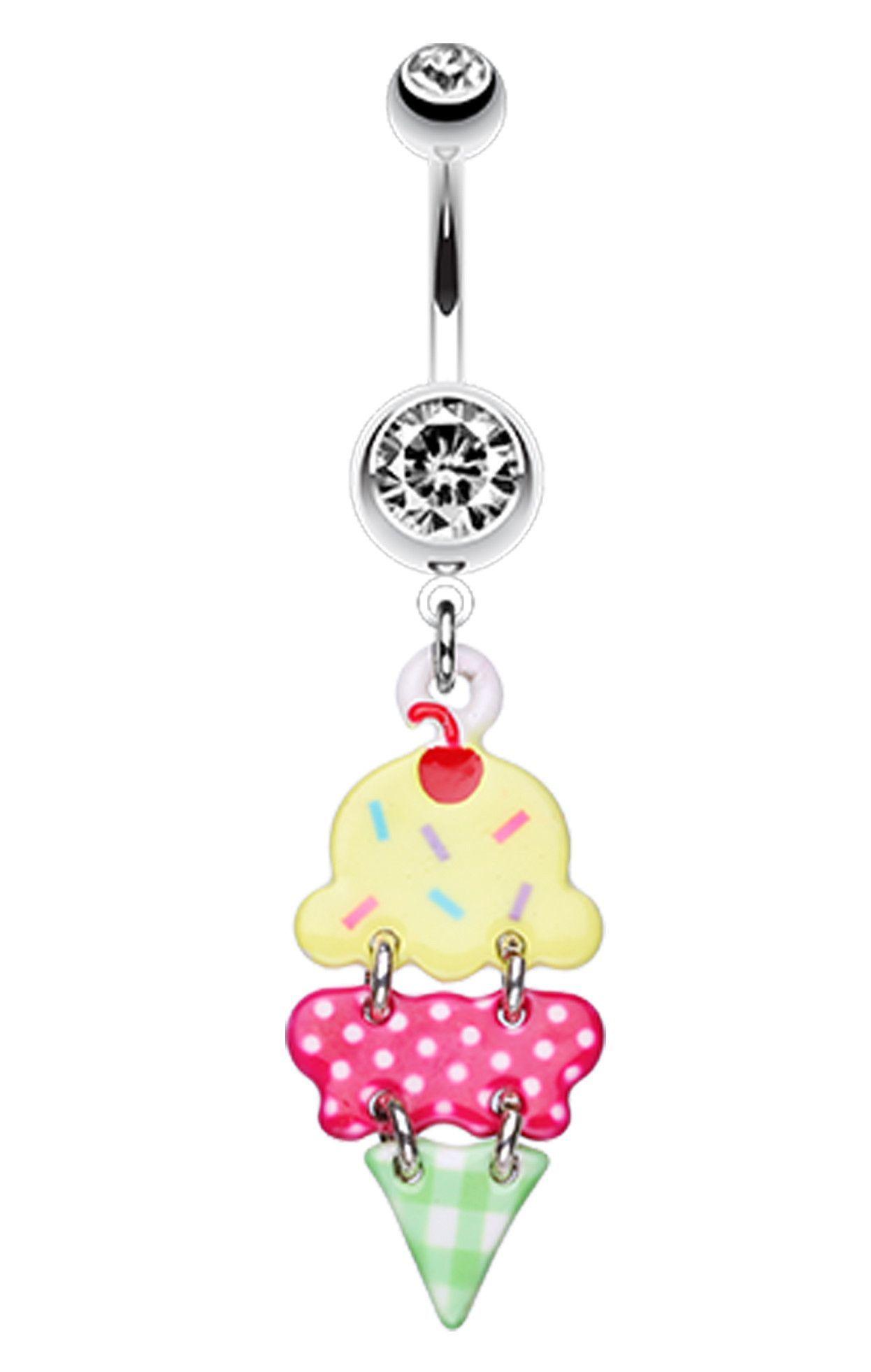 Belly button piercing jewellery  Double Scoop Ice Cream Cone Belly Button Ring  Ice cream cones
