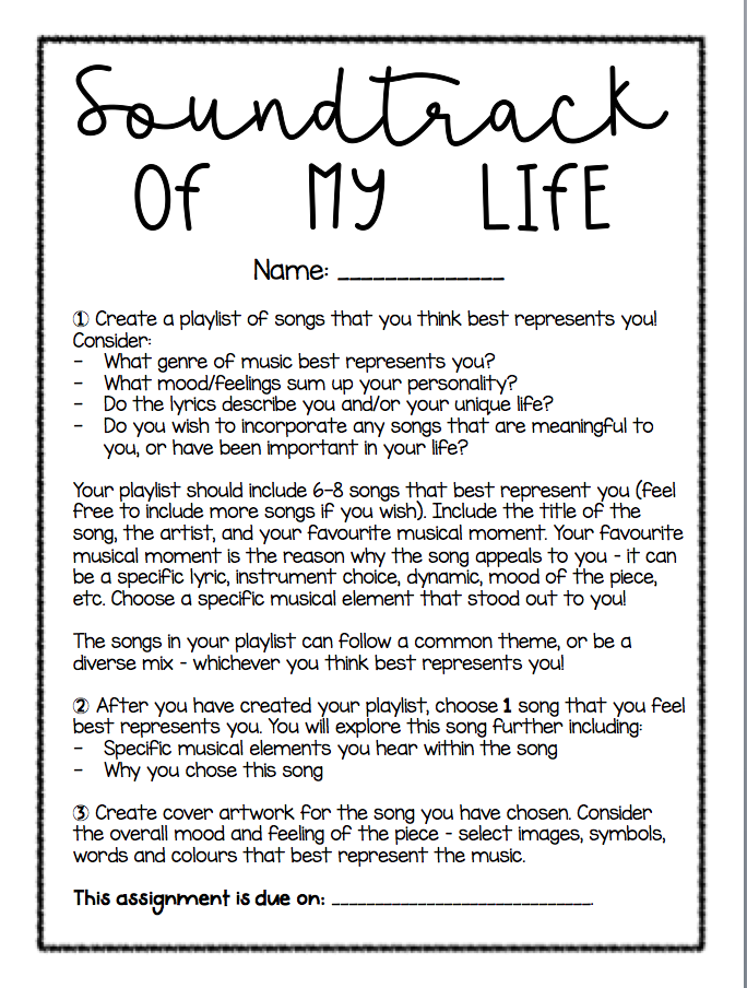 Soundtrack Of My Life Assignment Elementary Music Lessons High School Music Music Teaching Resources