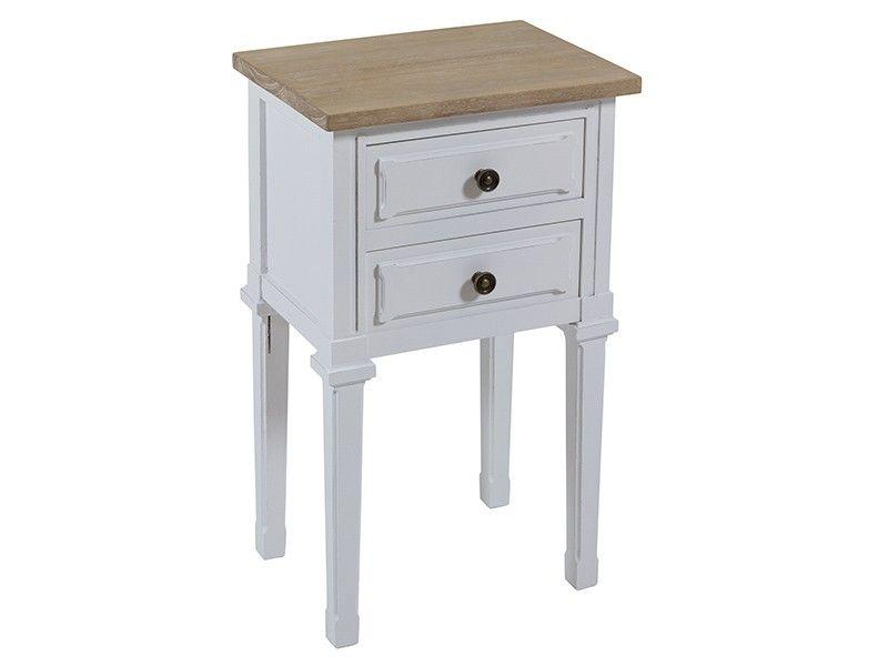 e0f2e54a250 Mesita blanca y madera Shabby Chic 2 cajones