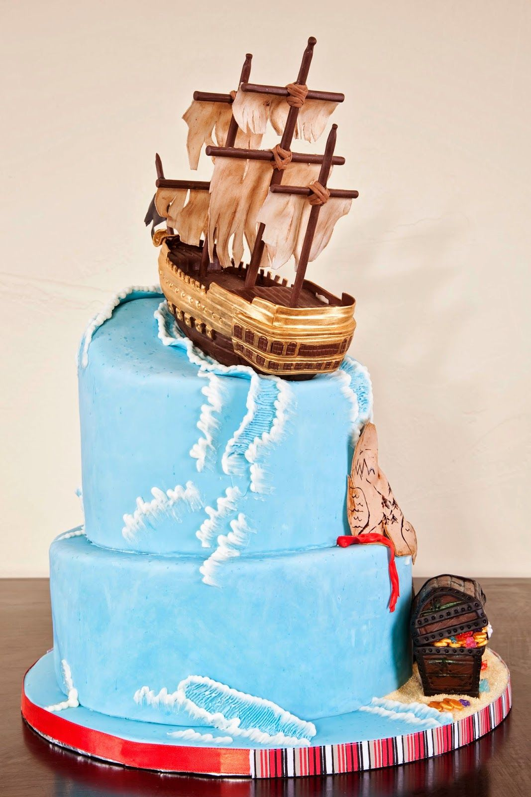 Delectable cakes stormy ocean pirate ship birthday cake