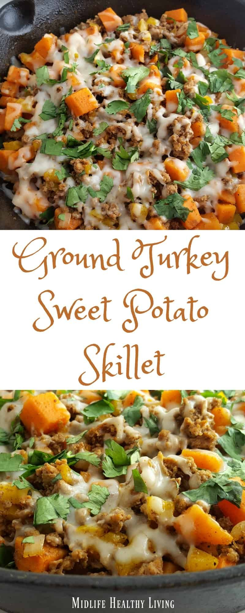 Photo of This ground turkey sweet potato skillet recipe is simple, easy, delicious, and W…