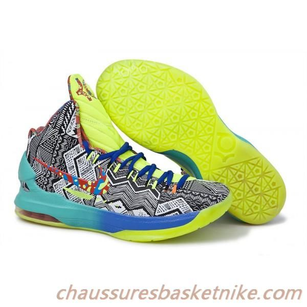 plus récent 19cc7 bd594 Nike Kevin Durant KD V Chaussures de Basket-Bleu Vert-Blanc ...