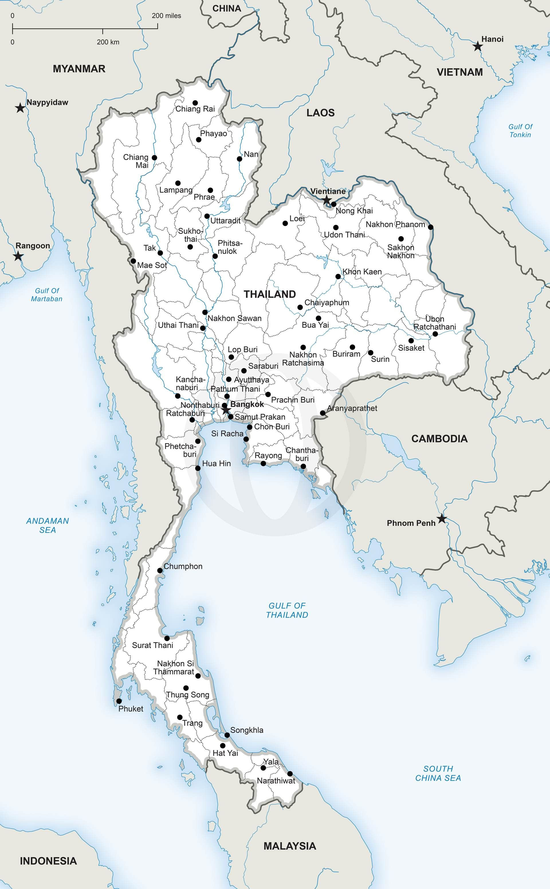 Download Map Of Asia.Map Of Thailand Political Papel Map Vector Map Asia Map