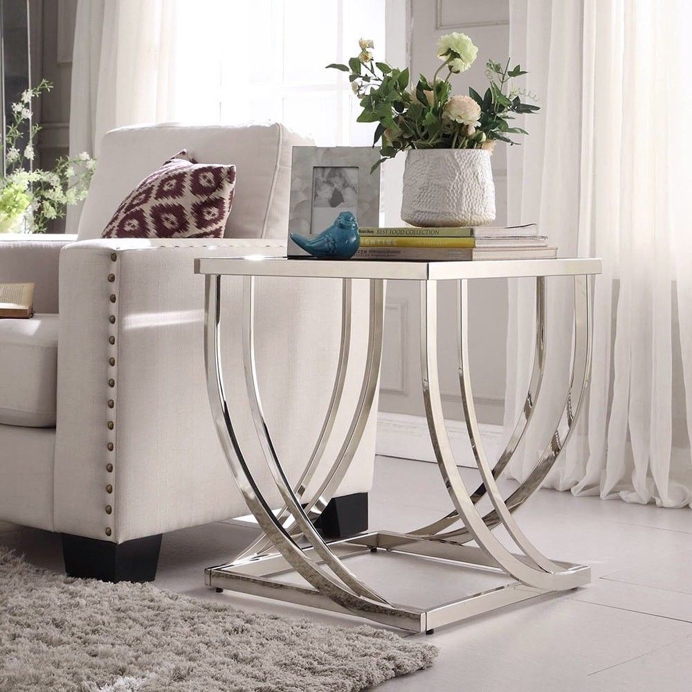 Chrome Black Glass End Table Side Steel Arch Curved Living Room