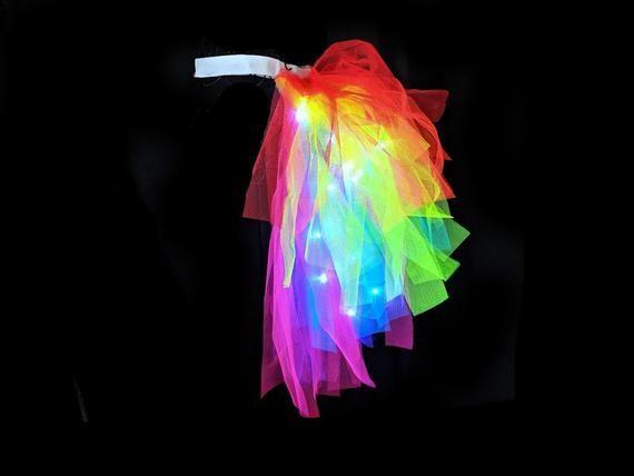 Unicorn Costume Ideas - Light Up Rainbow Bustle Tutu Unicorn Tail Fantasy Costume Pride Outfit
