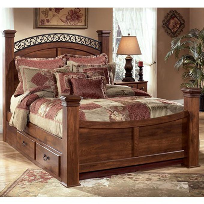 Ashley Timberline King Poster Headboard Bed With Under Bed Storage The Timberline Bedroom