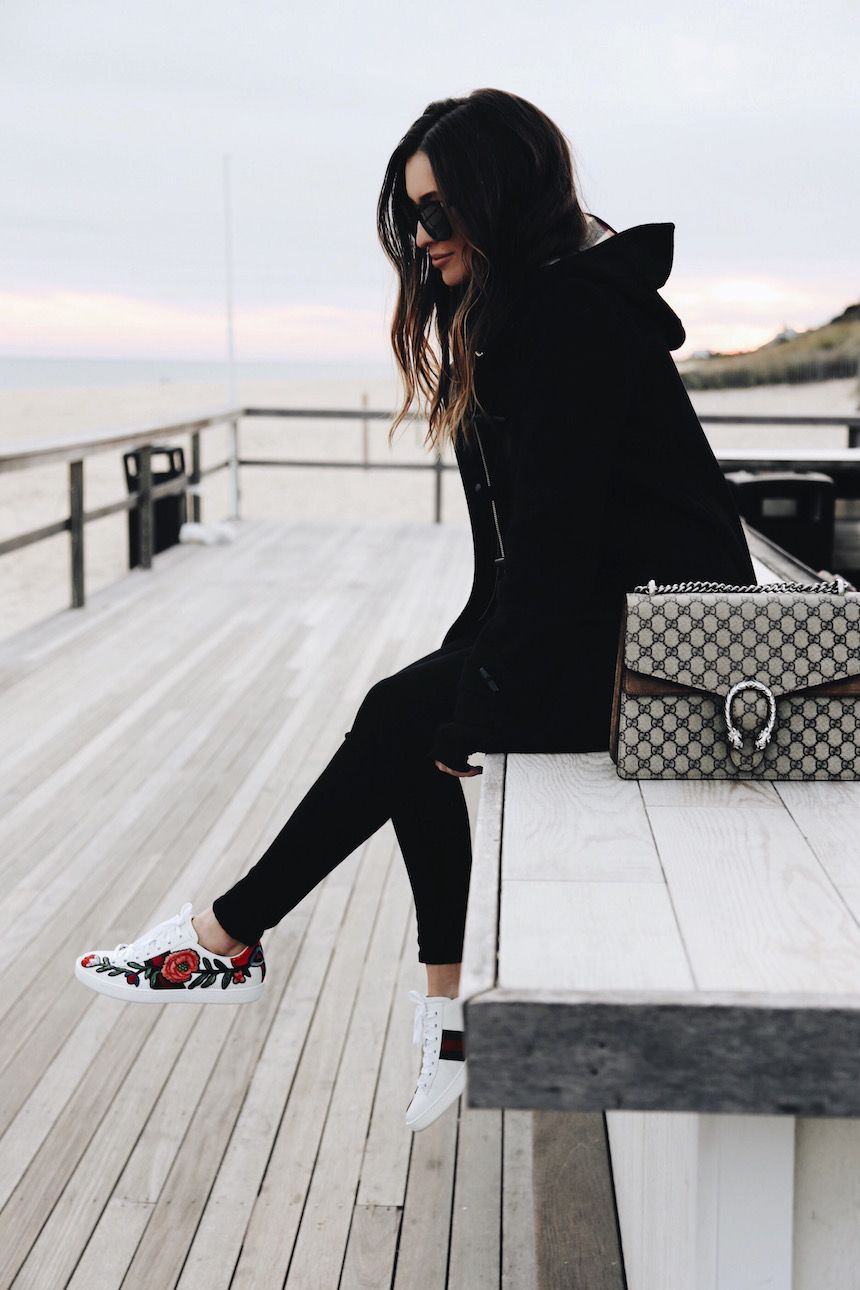 all black with floral sneakers and gucci purse fashion