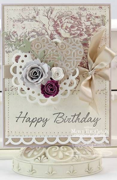 Gorgeous Happy Birthday Card With Paper Lace Punched Trim Heart