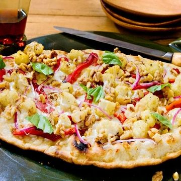 Grilled Walnut Lavash Pizza with Roasted Peppers and Cauliflower