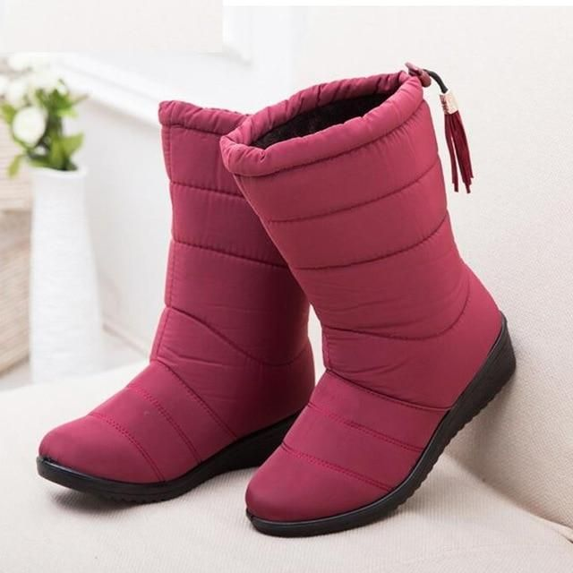 Details about  /Women Winter Fur Lined Mid Calf Boots Ladies Casual Flat Warm Snow Boots Shoes