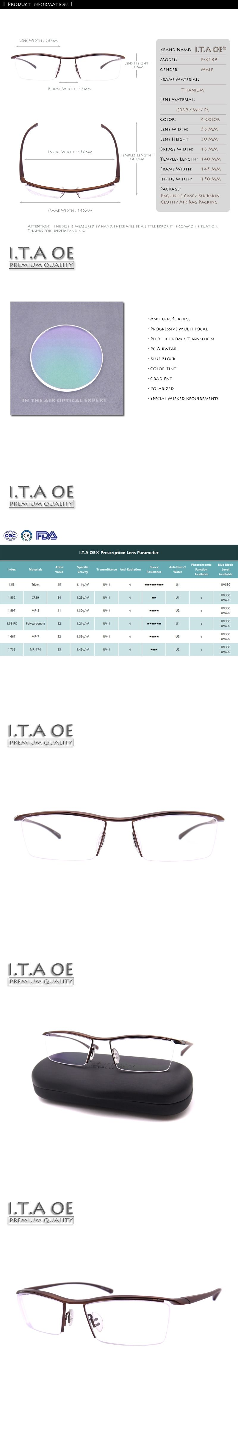 d46eca6310 ITAOE Model 8189 Quality Alloy TR90 Men Optical Prescription Glasses  Eyewear Frames Spectacles 145mm