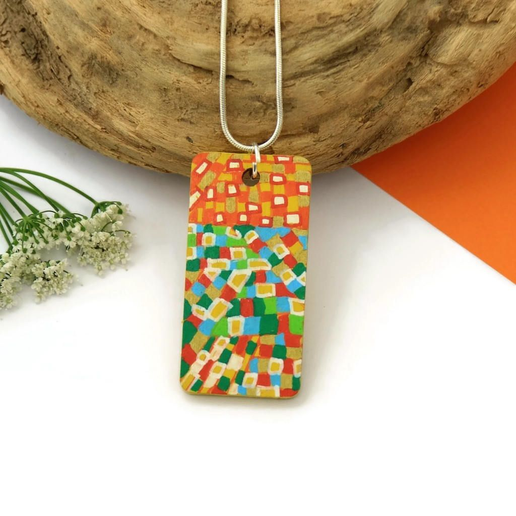 7ba6ad5abaea3 Hand Painted Pendant, Statement Necklace, Painted Wood Pendant ...
