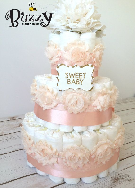 Pink Diaper Cakes For Baby Girl Shower Baby Shower Centerpiece